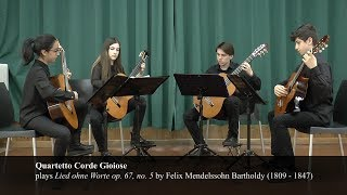 Felix Mendelssohn Bartholdy   Lied ohne Worte op 67, no. 5 played by Quartetto Corde Gioiose