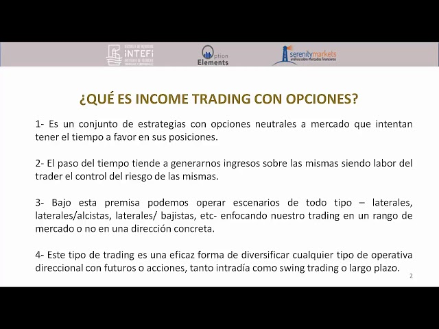 que es el income trading con opciones por optionelements