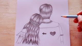 วาดภาพแรเงา คู่รักง่ายๆ ❤️