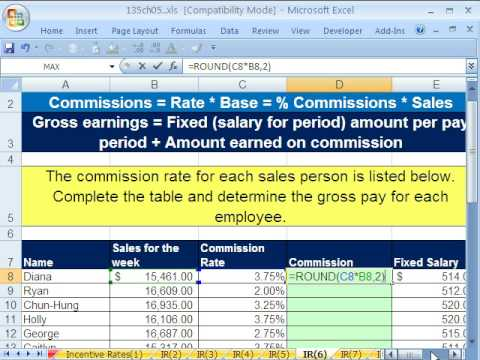 how to calculate commission in excel formula