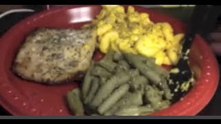 Asmr Eating + Whisper + Relaxing: Salmon + Mac & Cheese + Green Beans