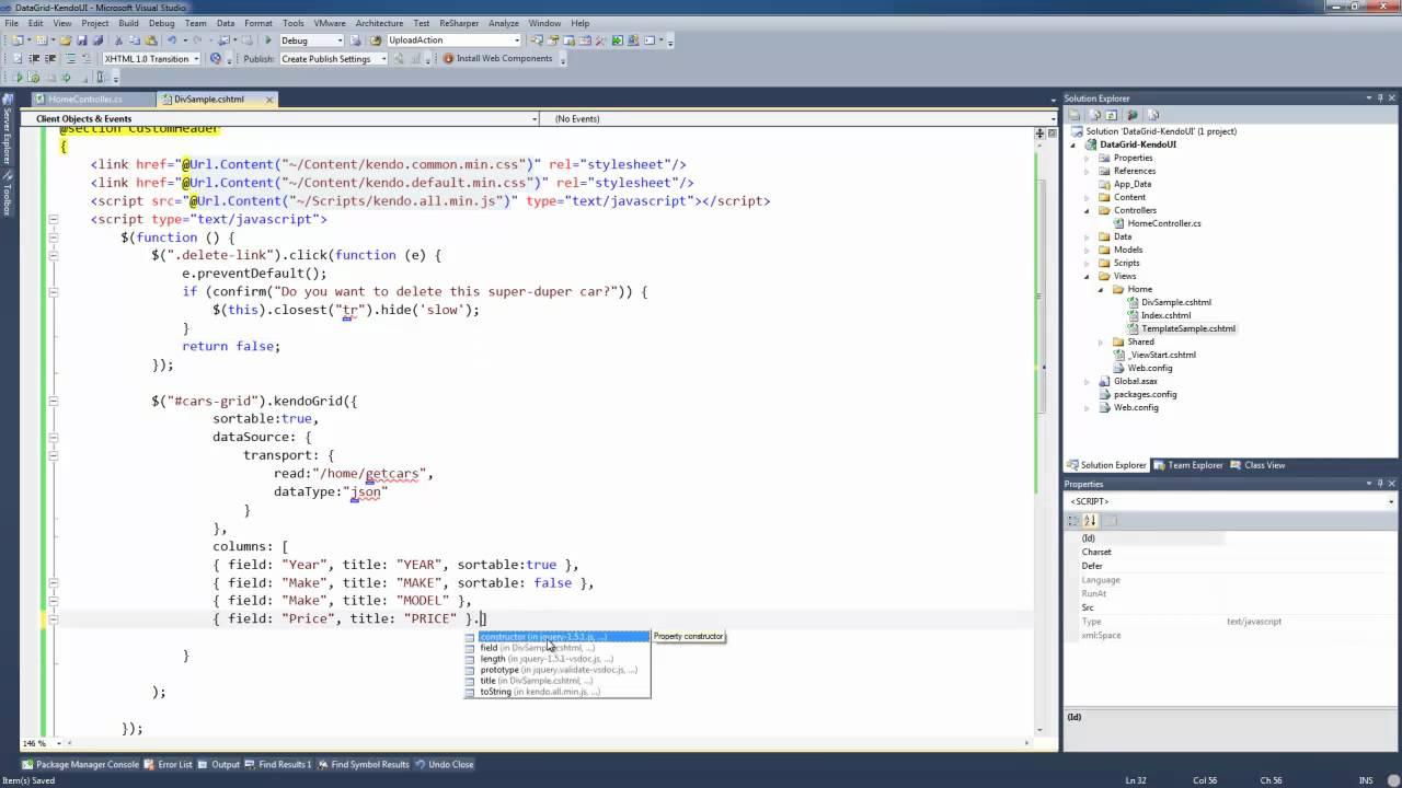 Using KendoUI Grids on ASP Net MVC - Tutorial 2