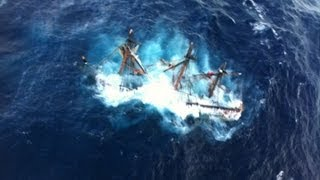 Dramatic helicopter rescue of HMS Bounty crew