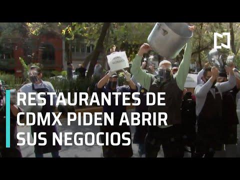 Meseros protestan por cierre de restaurantes en CDMX - En Punto