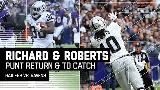 Jalen Richard's Huge Punt Return Sets Up Seth Roberts' TD Catch! | Raiders vs. Ravens | NFL