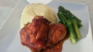 Honey Oven Baked Chicken Served With Mashed Potato & Asparagus