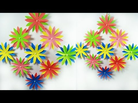 How To Make Paper Flower Wall Hanging - Wall Decoration Ideas - Paper craft - DIY Room Decor