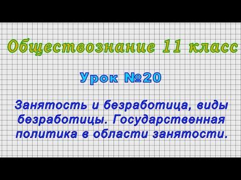 Обществознание 11 класс (Урок№20 - Занятость и безработица, виды безработицы.)