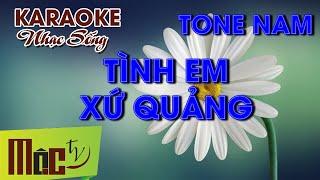 KARAOKE Tình Em Xứ Quảng - Tone Nam | Nhạc Sống