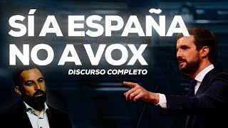 Pablo Casado interviene en el debate de la moción de censura.