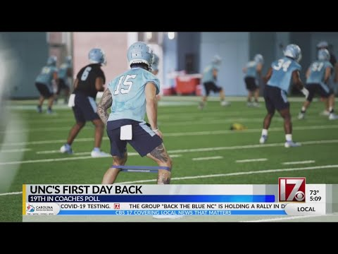 UNC Football Team's First Day Back At Practice