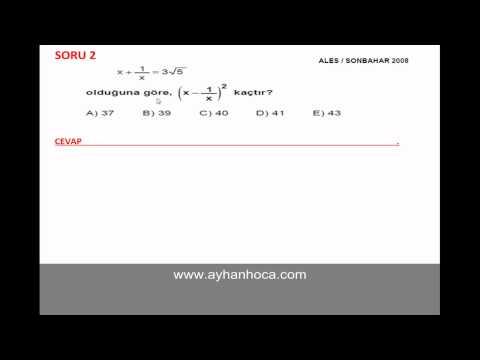 Ayhan Hoca--Ales Sonbahar 2008 Matematik Çıkmış Soru Çözümleri