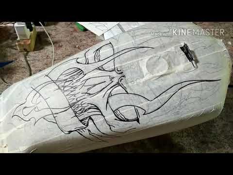 Belajar tahap airbrush motif tengkorak // tangki rx king // PONDOH CUSTOM
