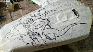 Belajar tahap airbrush motif tengkorak // tangki rx king // skull step by step // PONDOH CUSTOM