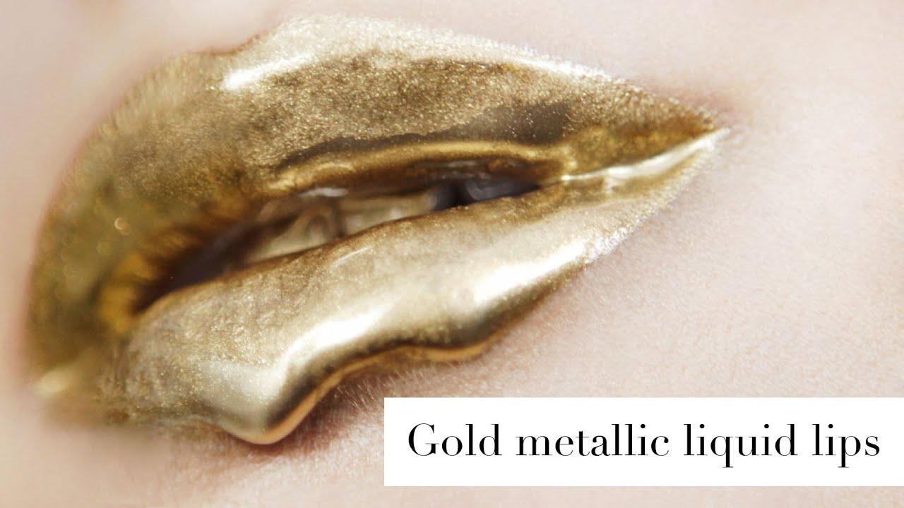 Gold metallic liquid lips plus extra tip! - YouTube