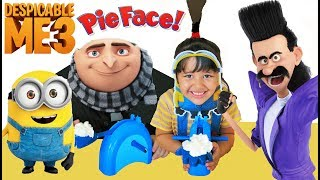 Despicable Me 3 Minions Halloween Costumes and Toys and Pie Face Challenge