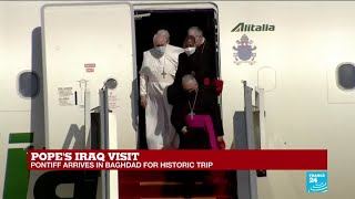 Pope Francis lands in Baghdad on first-ever papal visit