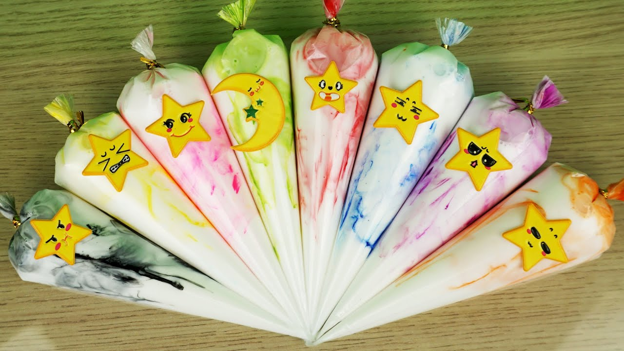 Making Slime with Funny Face Piping Bags ! Most Satisfying Slime ASMR Video #ASMR#FunnyPipingBags