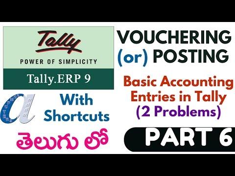 Tally Tutorials in Telugu- 6 (Vochour or Posting -Basic Accounting Problems)(www.computersadda)