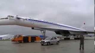 Ту-144 буксировка на статическую экспозицию МАКС 2013