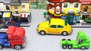 Transformers Bumblebee Movie Animation Robot Truck Lego Fast Food Robbery Police Car for kids