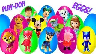 Best Learning Colors Video for Children - 16 Play Doh Eggs With Paw Patrol Nick Jr  Disney Jr