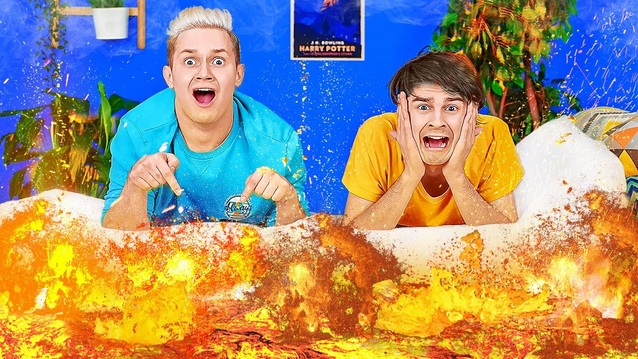 BEST EXTREME THE FLOOR IS LAVA CHALLENGE || Funny Game And Pranks For 24 Hours By 123 GO! BOYS
