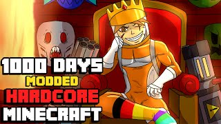 I Survived Hardcore Modded Minecraft For 1000 Days using the largest modpack possible