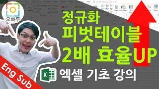 #8 엑셀기초강의]  정규화로 엑셀 피벗테이블 200% 활용하기 1탄 ! | 오빠두엑셀 기초 1-4