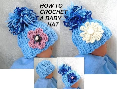 Crochet Patterns Youtube Hats : DIY CROCHET BABY HAT, Free Pattern in this video for 3 sizes - YouTube