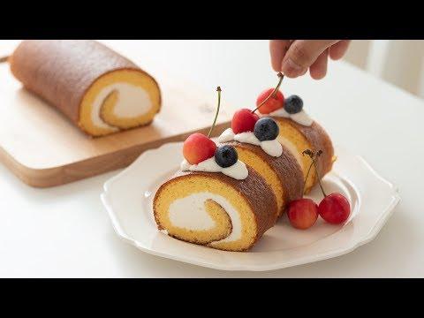 シンプルなロールケーキの作り方 Swiss roll cake|HidaMari Cooking