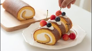 Japanese swiss roll cake|HidaMari Cooking
