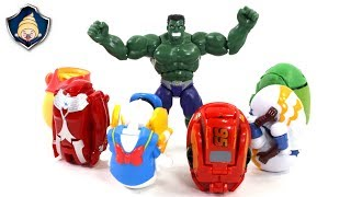 Super Hero hulk & Transformation Egg toys Disney cars Ultraman Dinosaur - Stop motion animation