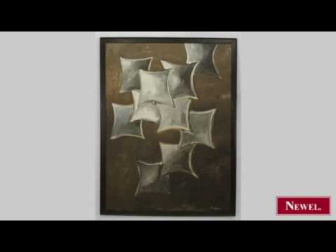 Antique American modern abstract painting of grey ...