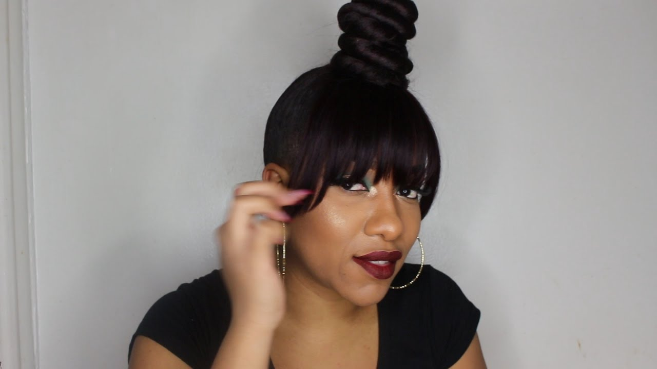 Twisted Bun With Faux Bangs New Years Transformation