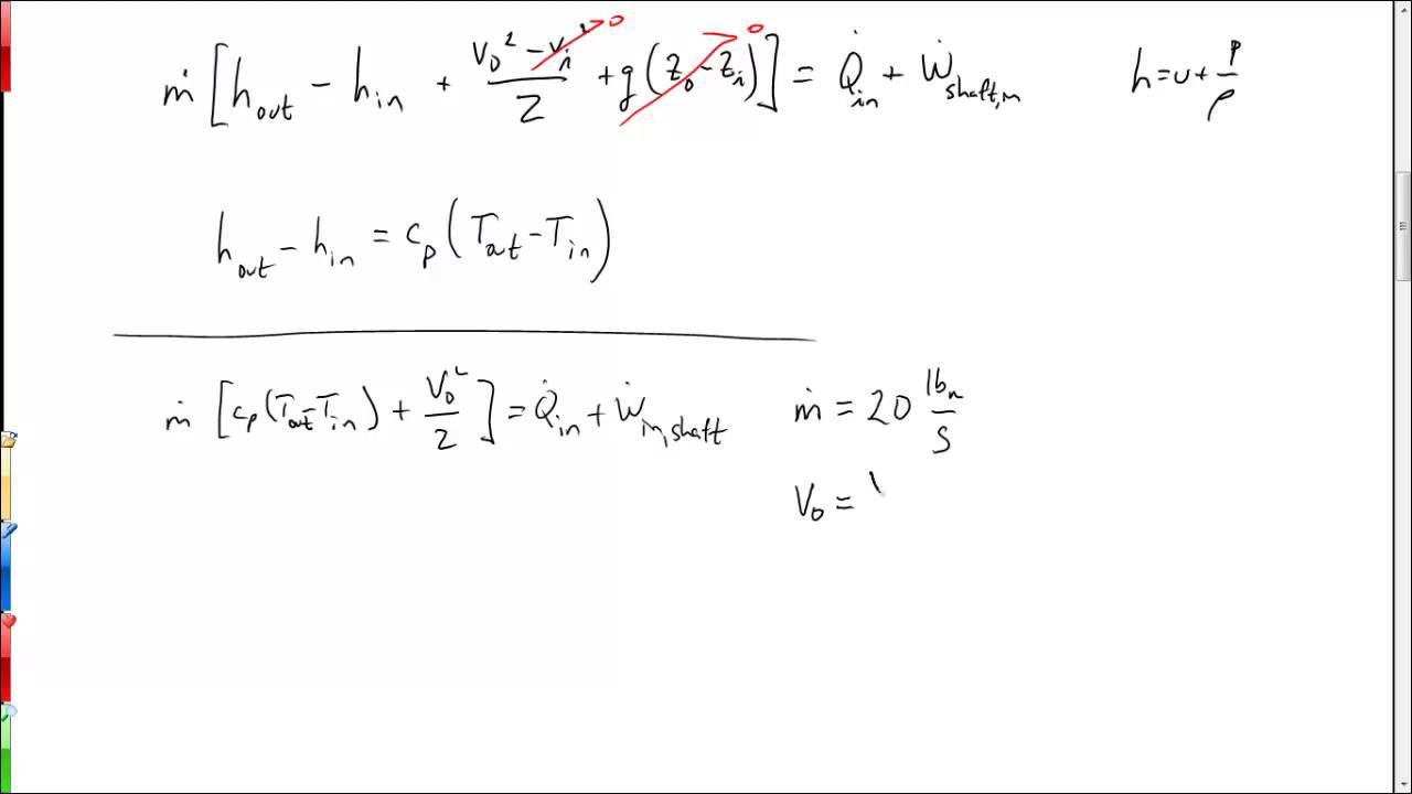 Compressor example (energy equation)