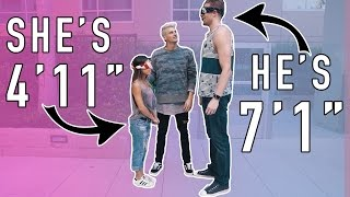 BLIND DATE! 7 FOOT TALL GUY MEETS 4 FOOT TALL GIRL! thumbnail