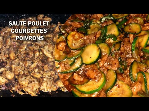 sauté-de-poulet-aux-courgettes-et-poivrons-verts---Île-de-la-réunion.