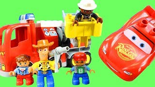 Lego Duplo Children School Bus Crashes Into Disney Cars 3 Lightning McQueen Fire Truck Puts Out Fire