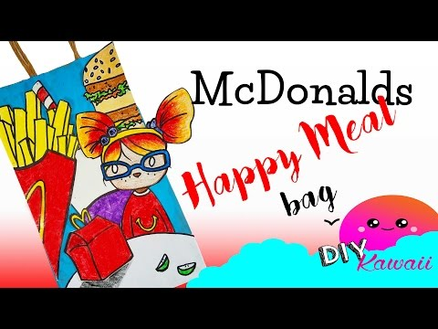 DIY Miniature McDonalds Happy Meal Play doh Inspired Paper Doll Gift Bag Under 5 Minutes Craft