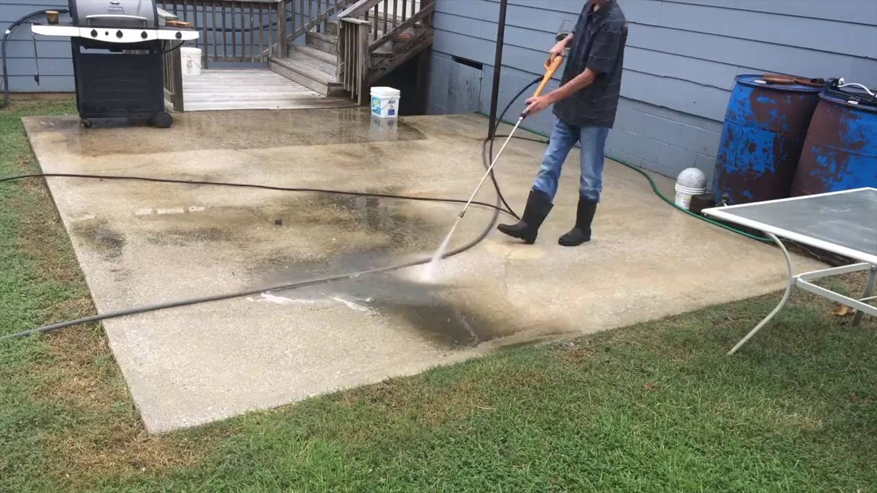 How to pressure wash a concrete patio youtube for Pressure wash concrete patio