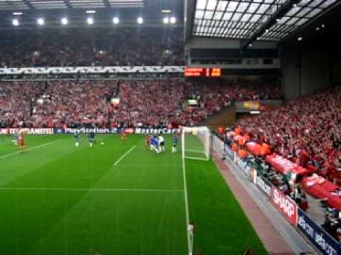 liverpool vs chelsea goal line view luis garcia youtube