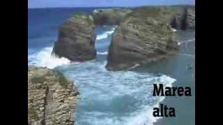 Playa De Las Catedrales - Marea alta y baja. Ribadeo - Galicia