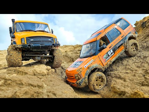 Land Rover and Mercedes Stuck in MUD in RC OFF Road Adventure