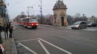 Tatra T3R.P na lince 9 ve směru Sídliště Řepy