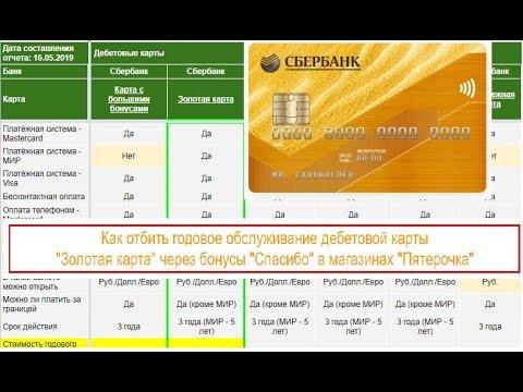 Золотая карта Сбербанка - Как отбить годовое обслуживание?
