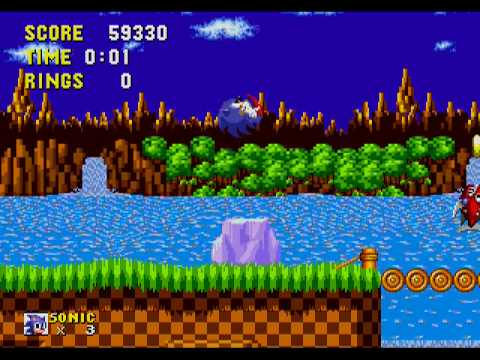 Sonic The Hedgehog Sega Genesis Megadrive Gameplay Part 1 Green Hill Zone Youtube