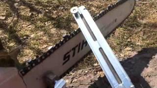 видео Как точить цепь бензопилы напильником, станком и болгаркой?