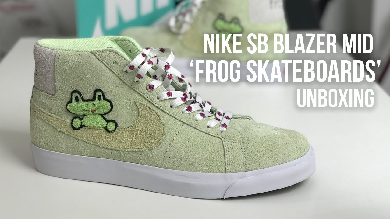 the best attitude e2685 4c53f RIBBIT!!! Frog Skateboards x Nike SB Blazer Mid Sneaker Unboxing