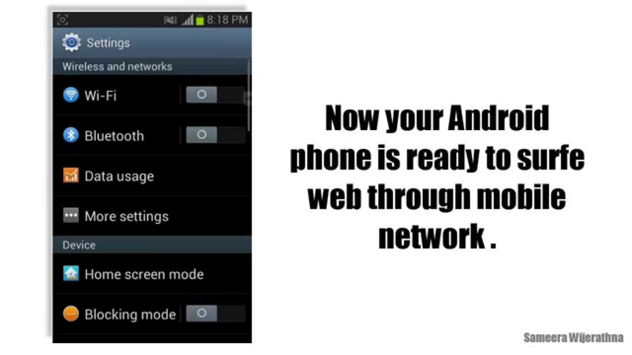 how to use broadband internet on android